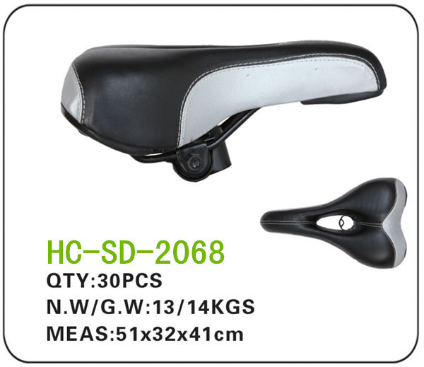 Black and White Leather MTB Saddle (SD-2068)