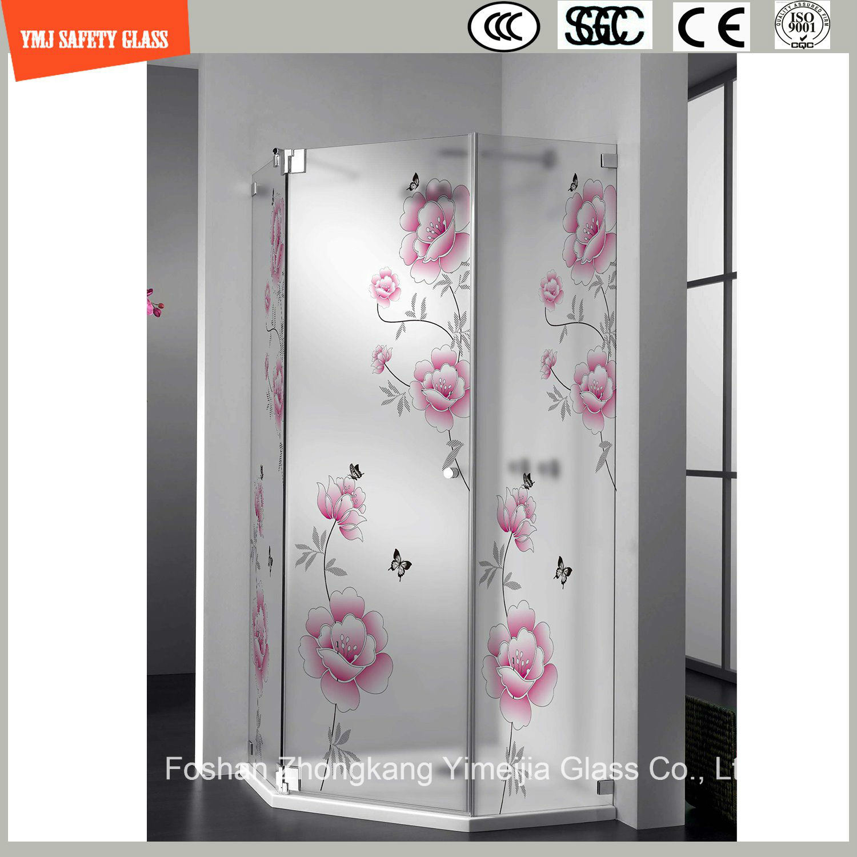 Silk Screening & Acid Etched Glass Shower Panel