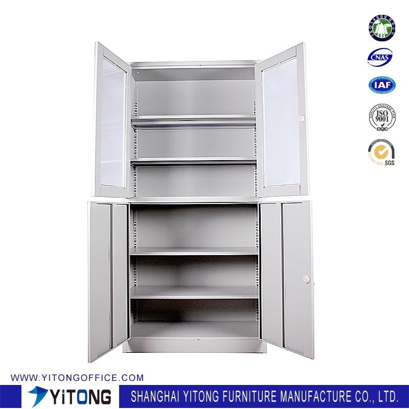 4-Door 2-Glass Door Metal Storage Cabinet / Office Use Steel File Cabinet