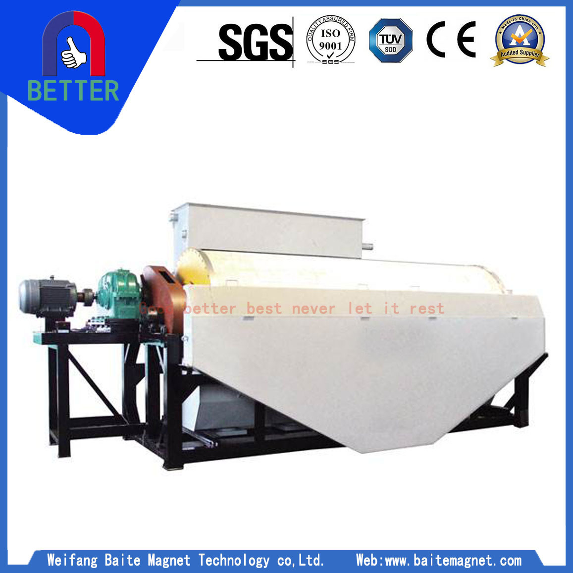 Series Cty Permanent Magnetic Wet Magnetic Separator for Iron Ore Preconcentration