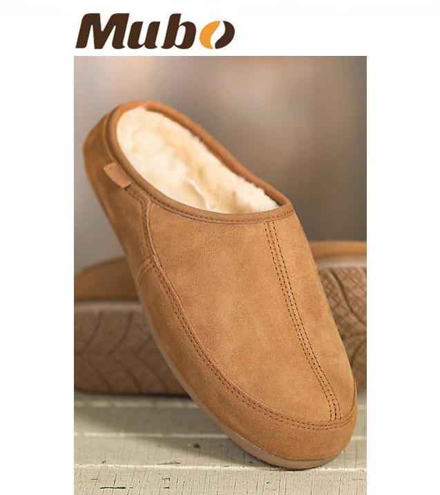 Warm Winter Sheepskin Indoor Slippers for Men in Chestnut