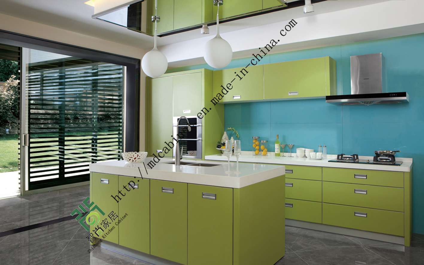 Blue lacquer kitchen cabinets for Best lacquer for kitchen cabinets