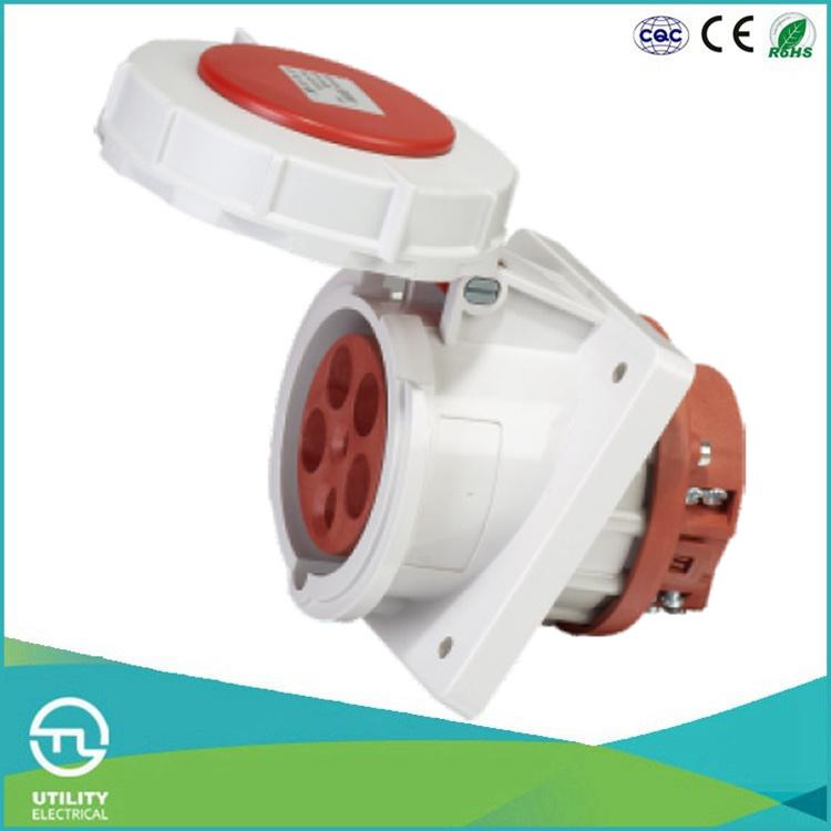 IP67 Waterproofing Angled Panel Mounted Socket for Industrial Plug Socket