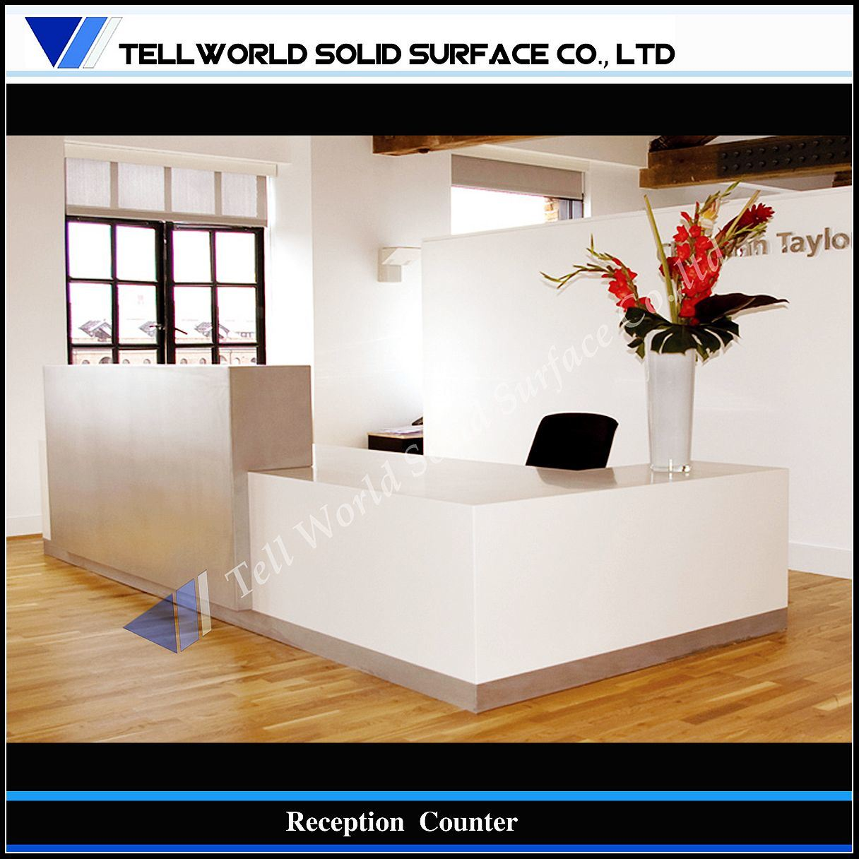China Modern White Acrylic Solid Surface Reception Counter