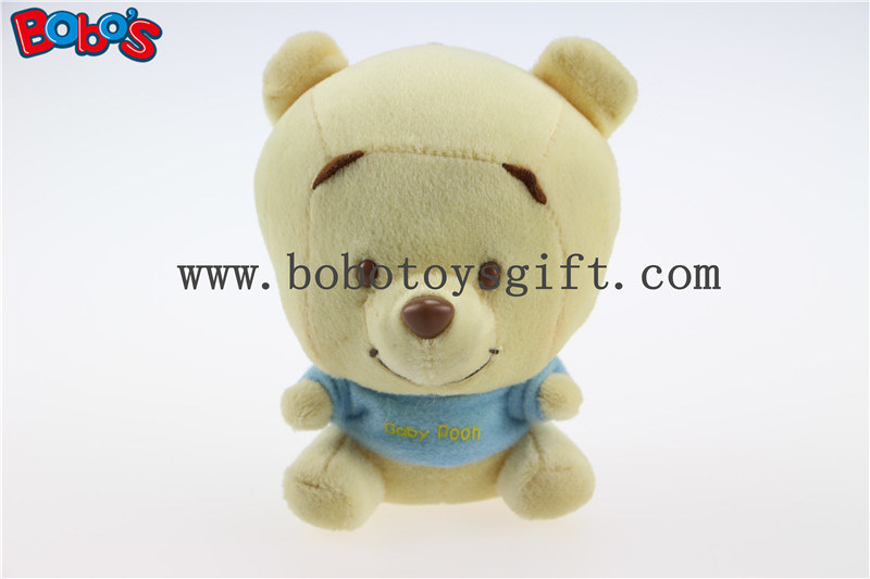 "4""Mini Plush Baby Pooh Bear Keychain with Blue T-Shirt Bos1097"