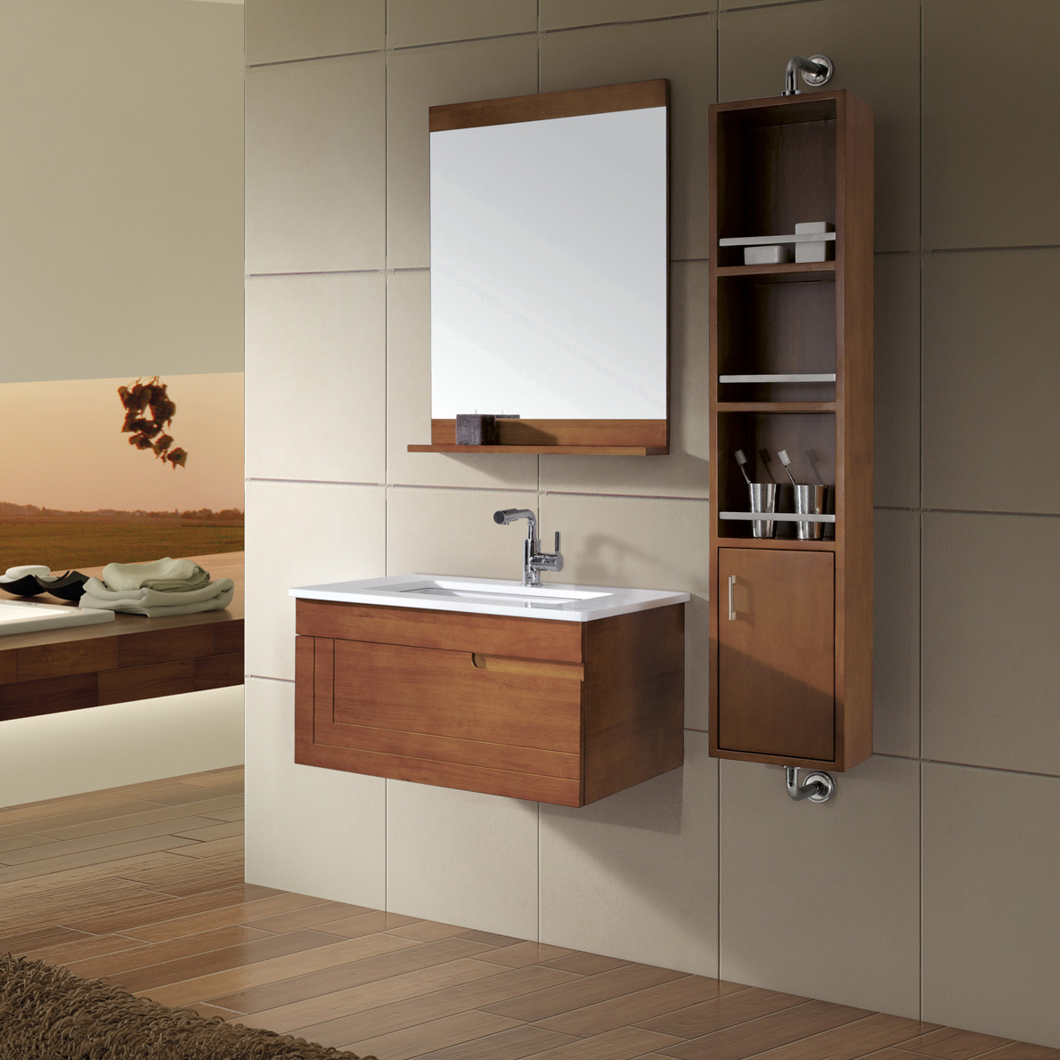 China bathroom cabinet vanity kl269 china bathroom for Bathroom storage furniture