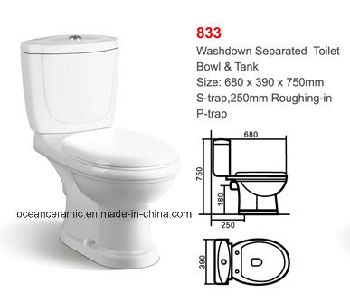 833 Cheap Washdown Two Piece Ceramic Toilet, Project Sanitary Ware