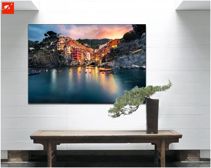 Cotton Canvas Painting of Seaside Island Villas