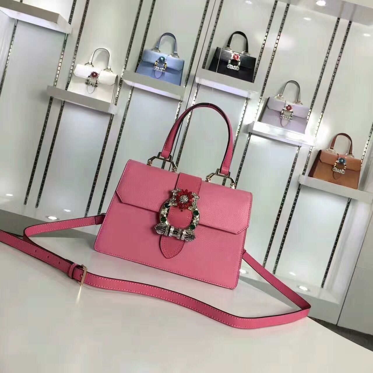 Europe Style Famous Brand Name Diamond Women Hand Leather Bag