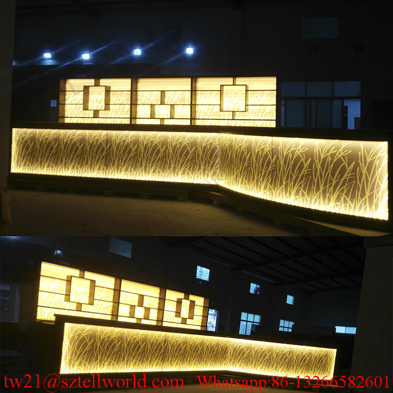 Long Curved Shape White Corian LED Lighting Commercial Bar Counter