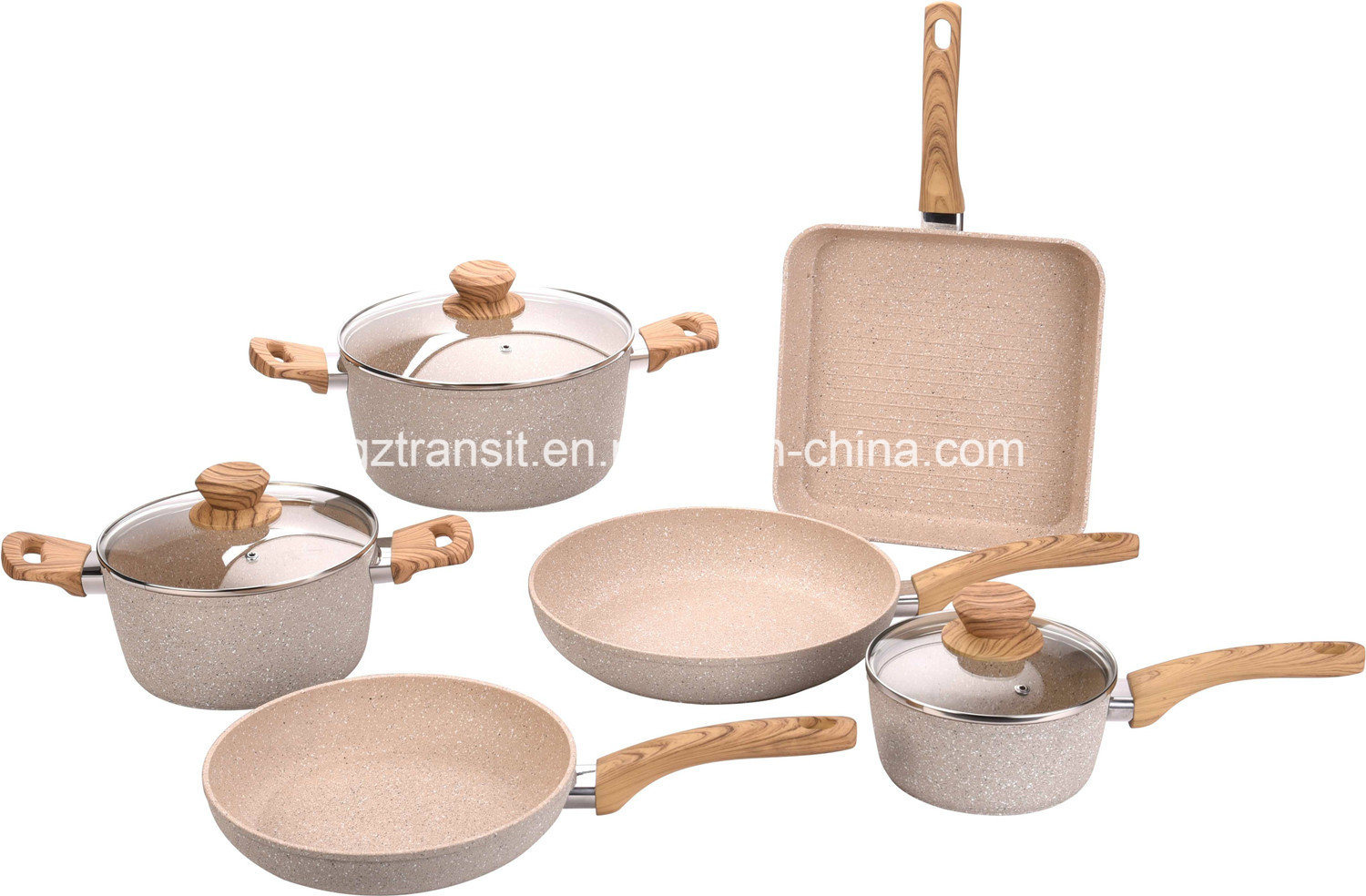 Stone Look Marble Coated Forged Aluminum Pots & Pans Cookware Set