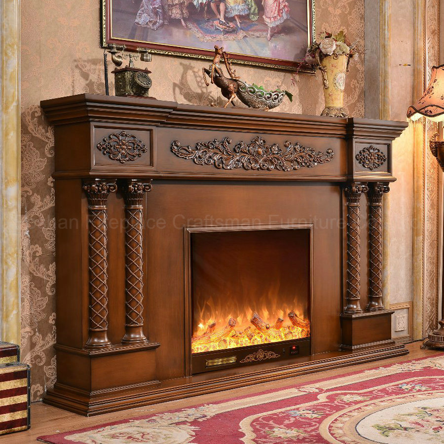European Sculpture LED Lights 3D Effects Heating Electric Fireplace (320B)