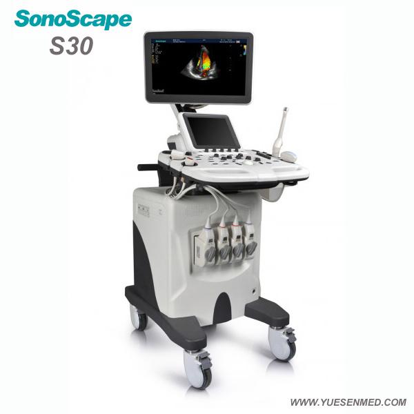 Hospital Medical Sosonoscape S30 3/4D Color Doppler Trolley Mobile Ultrasound Machine