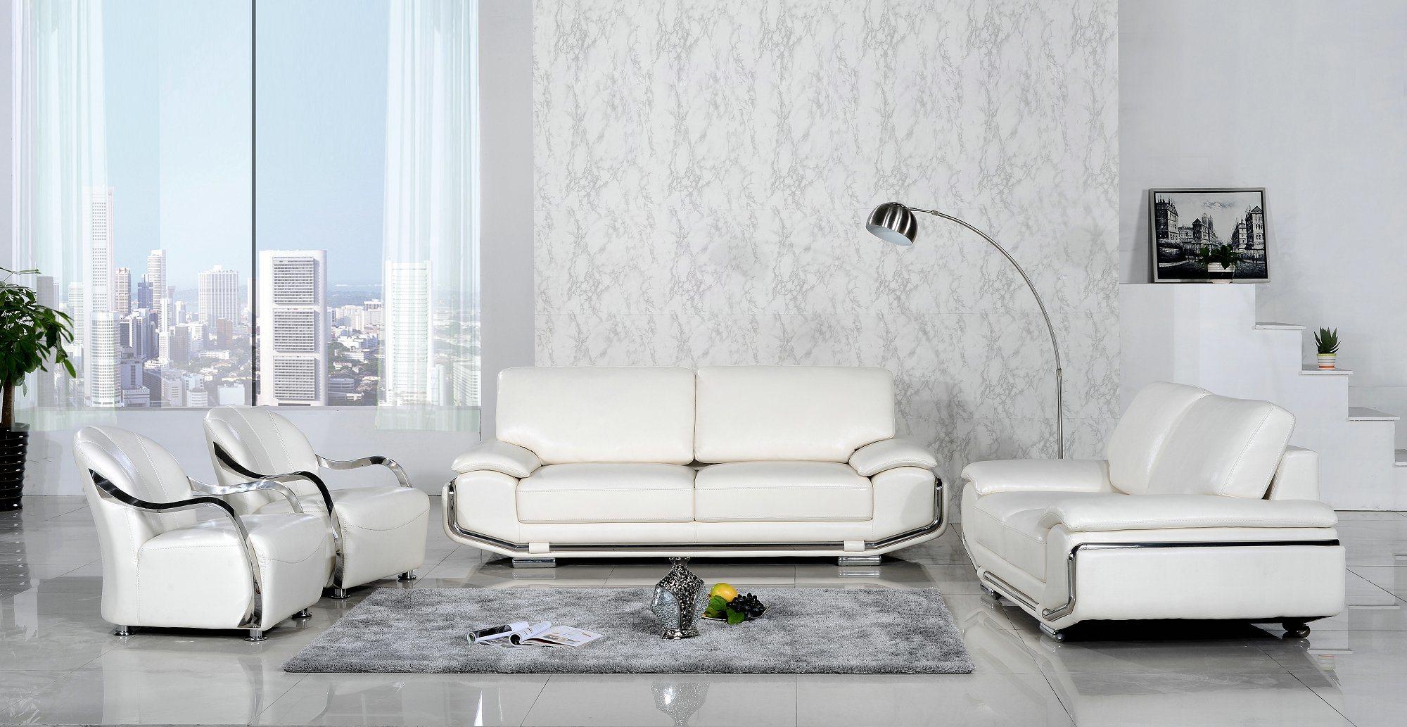 Luxury Steel Arm White Color Leather Sofa Set