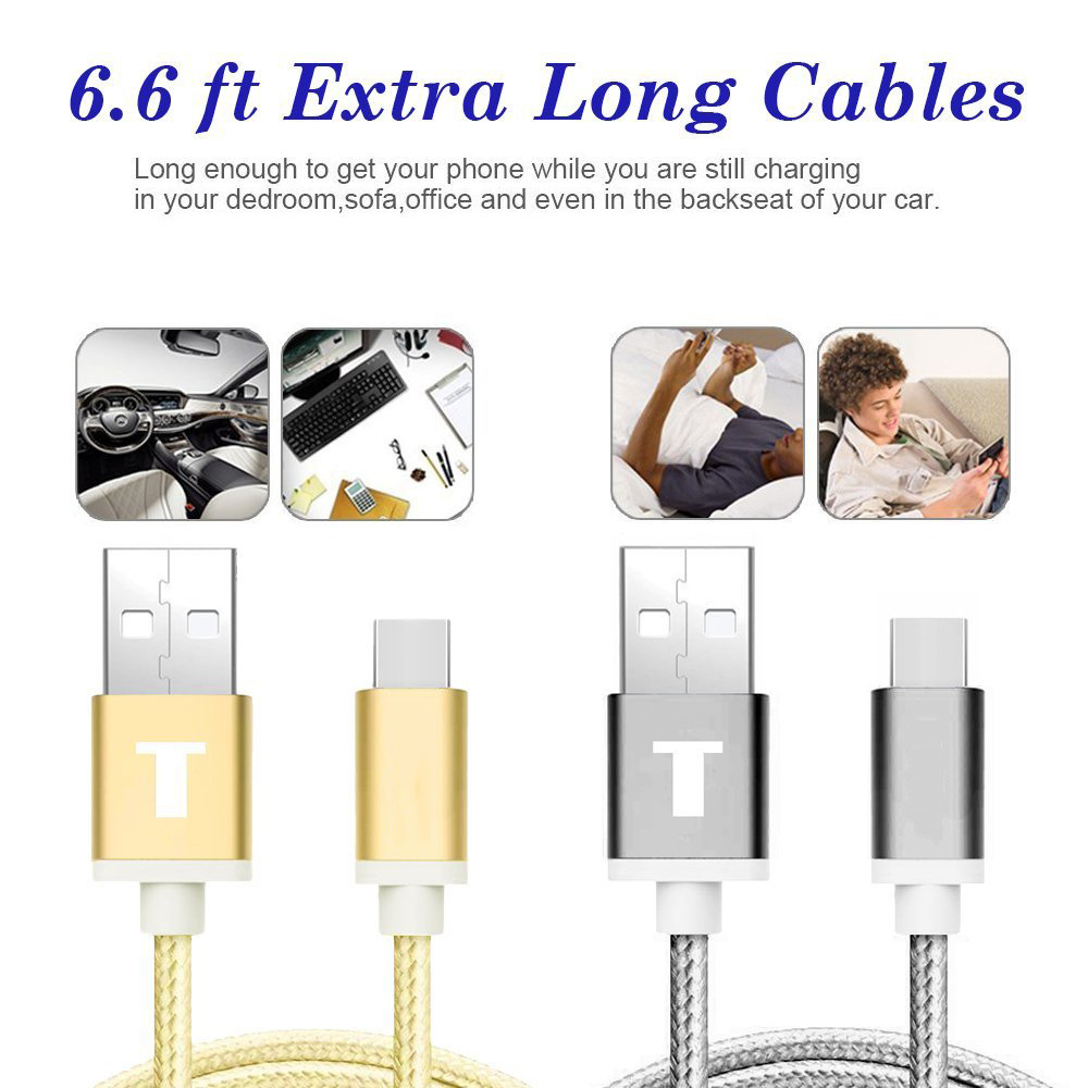 6.6 FT (2M) Extra Long Braided Type C USB Data Charge Cable with Reversible Connector
