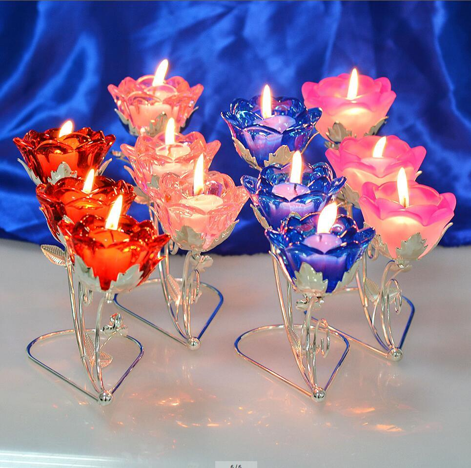 3 Branch Rose Crystal Candle Holder for Wedding