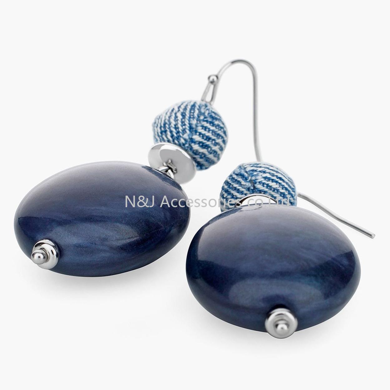 New Resin Beads blue Dangle Earrings Handmade Silver Plated Fashion Jewelry