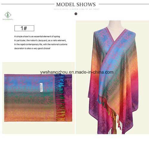 Nepal Style Fashion Color All-Match Jacquard Scarf Long Pashmina Shawl
