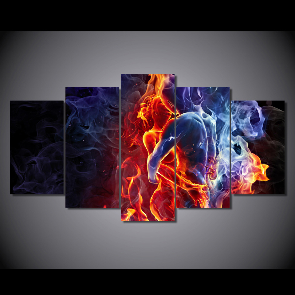 HD Printed Flame Figures Group Painting Canvas Print Room Decor Print Poster Picture Canvas Mc-025