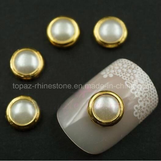 Rhinestone Pearls Rim Stone ABS White Pearls for Nail Decoration (FB-5mm white)