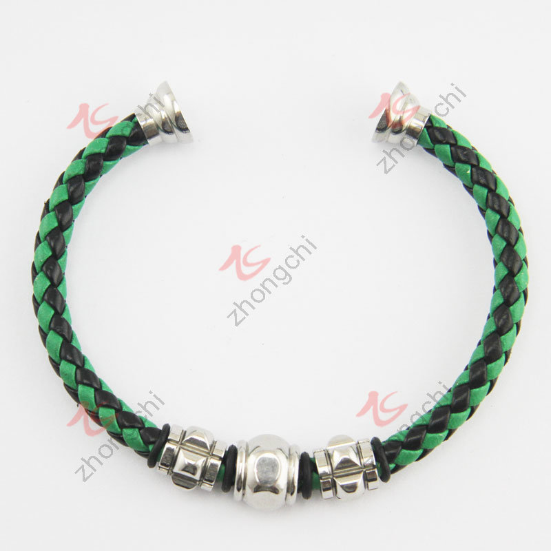 Fashion Jewelry Braided Leather Magenet Clasp Bangle (LB)