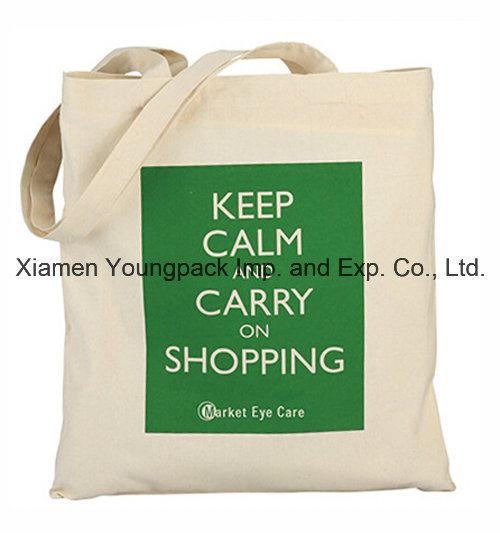 Promotional Reusable 100% Natural Cotton Textile Fabric Carrier Bag