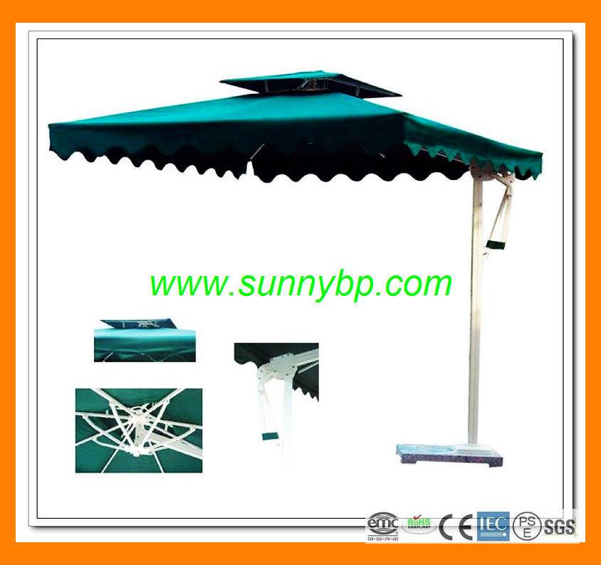 3m Solar Market Half Wall Umbrella with LED Lighting