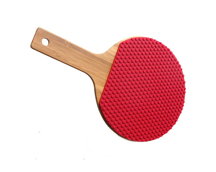 Heat Resistant Ping Pong Bat Shaped Silicone Hot Pot Mat