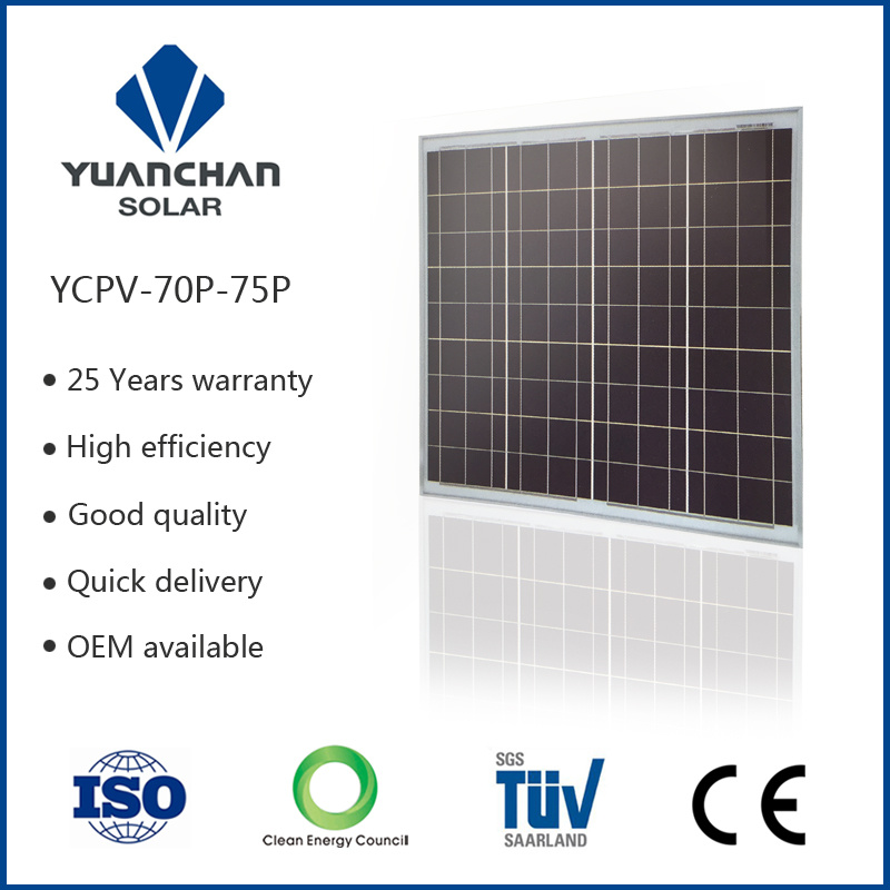 China Supplier 70W Poly Solar Panels with Full Certificate