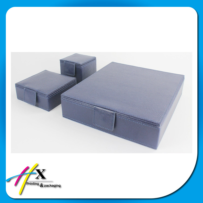 Top Quality Blue Leather Paper Jewelry Box Wholesale