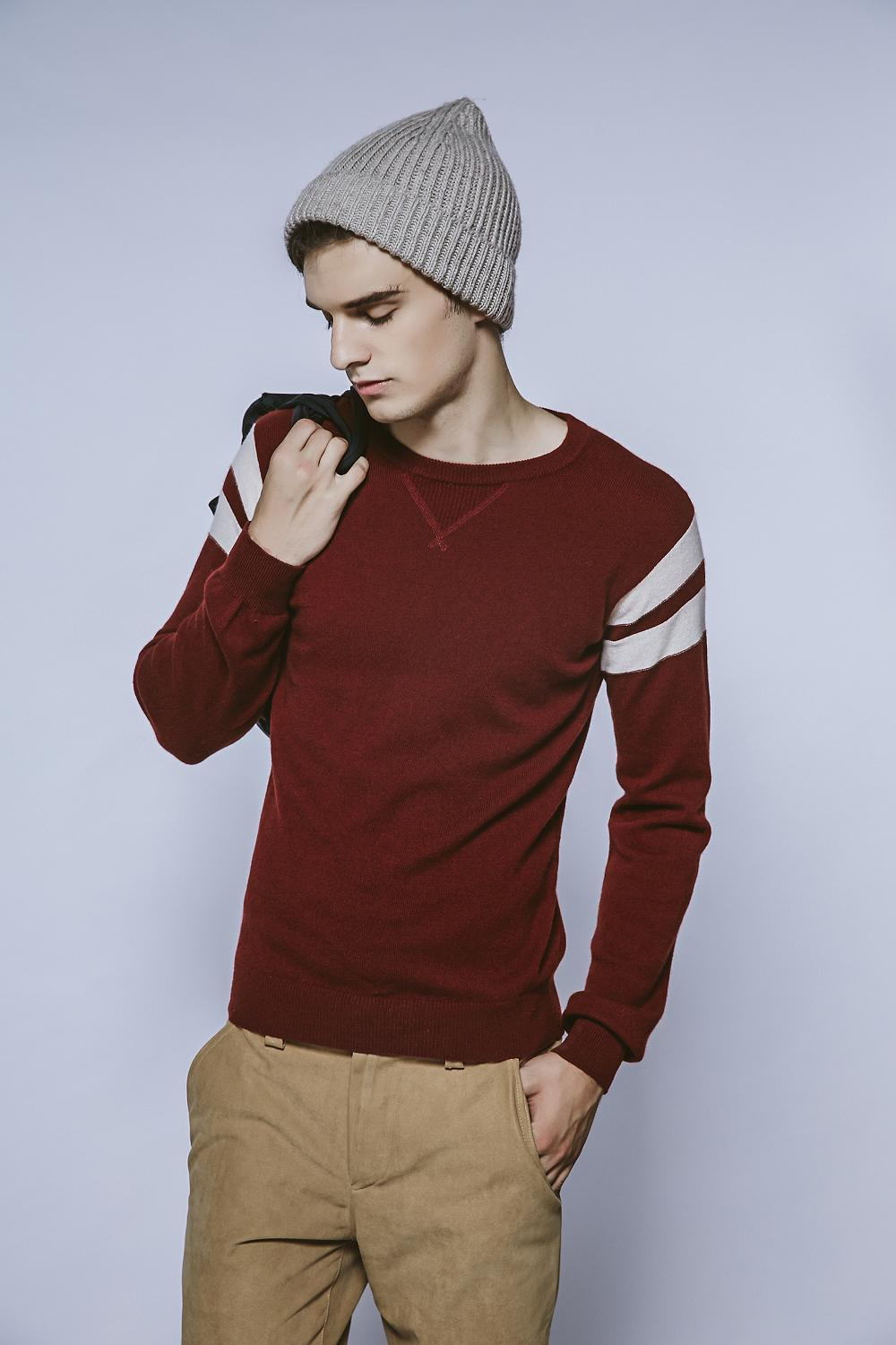 100%Cashmere Fall&Winter Round Neck Jumper Men Knitwear