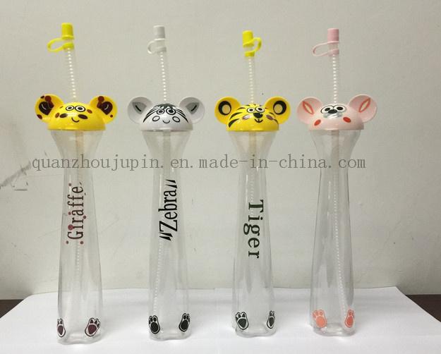 OEM Straw Ice Slush Yard Cup with Cartoon Design Lid