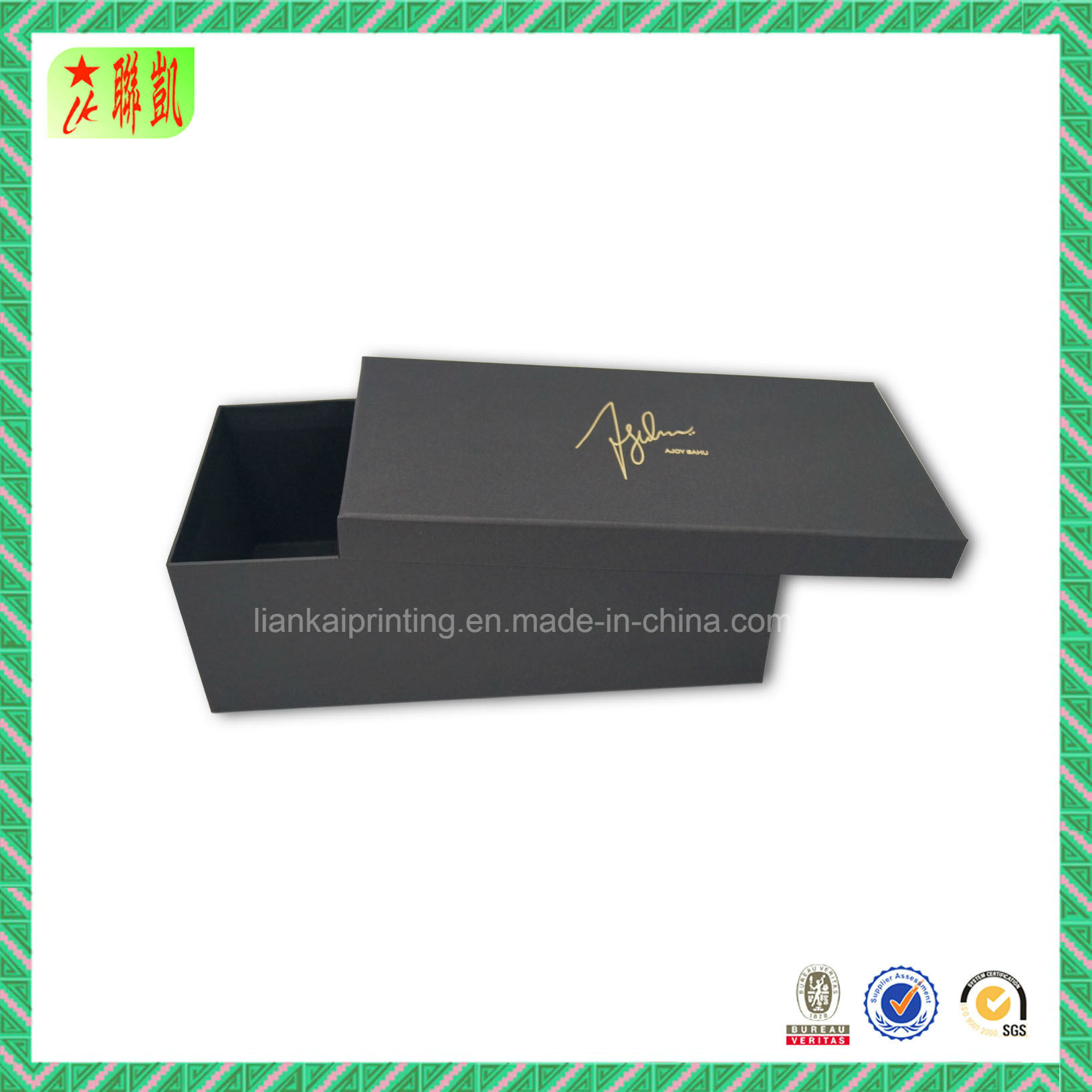 Embossing Luxury Black Cardbord Shoe Box Packing