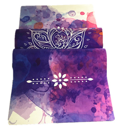 Lotus Design Custom Print Natural Rubber Microfiber Sude Antislip Yoga Mat
