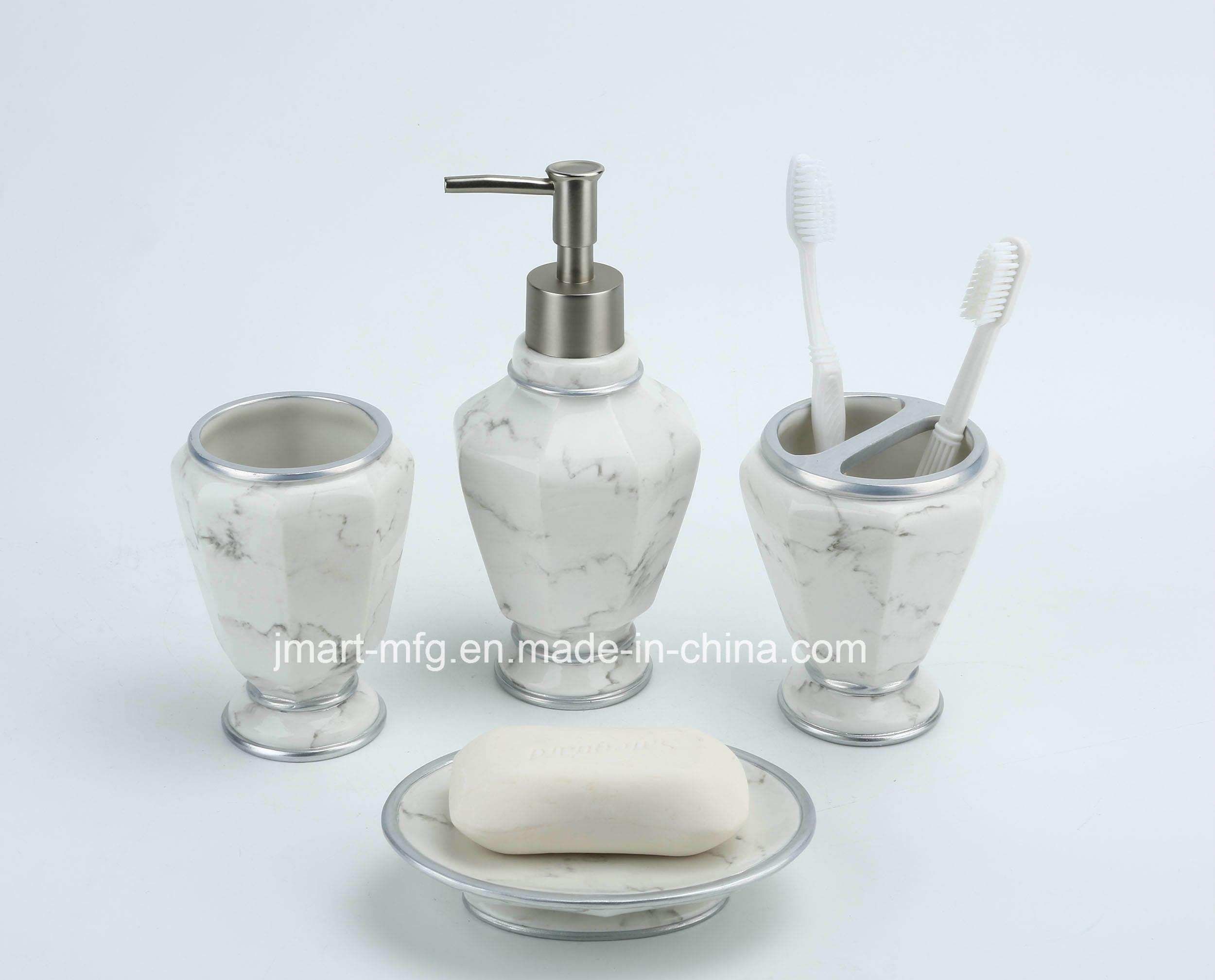 Marble Finish Polyresin Bathroom Accessory