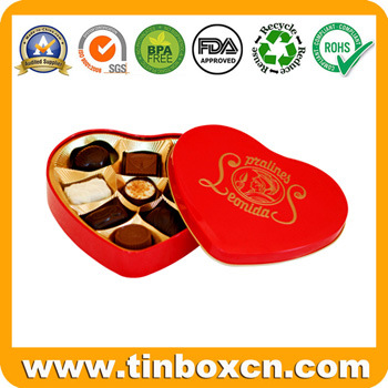 Heart-Shaped Tin for Chocolate Candy, Heart Tin Box