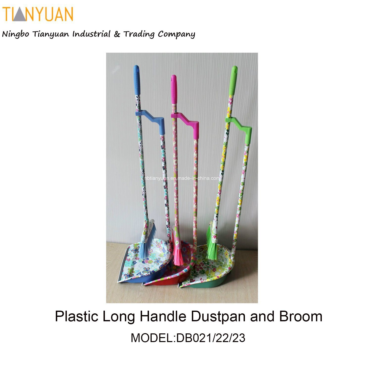Plastic Long Handle Dustpan and Broom with Printing