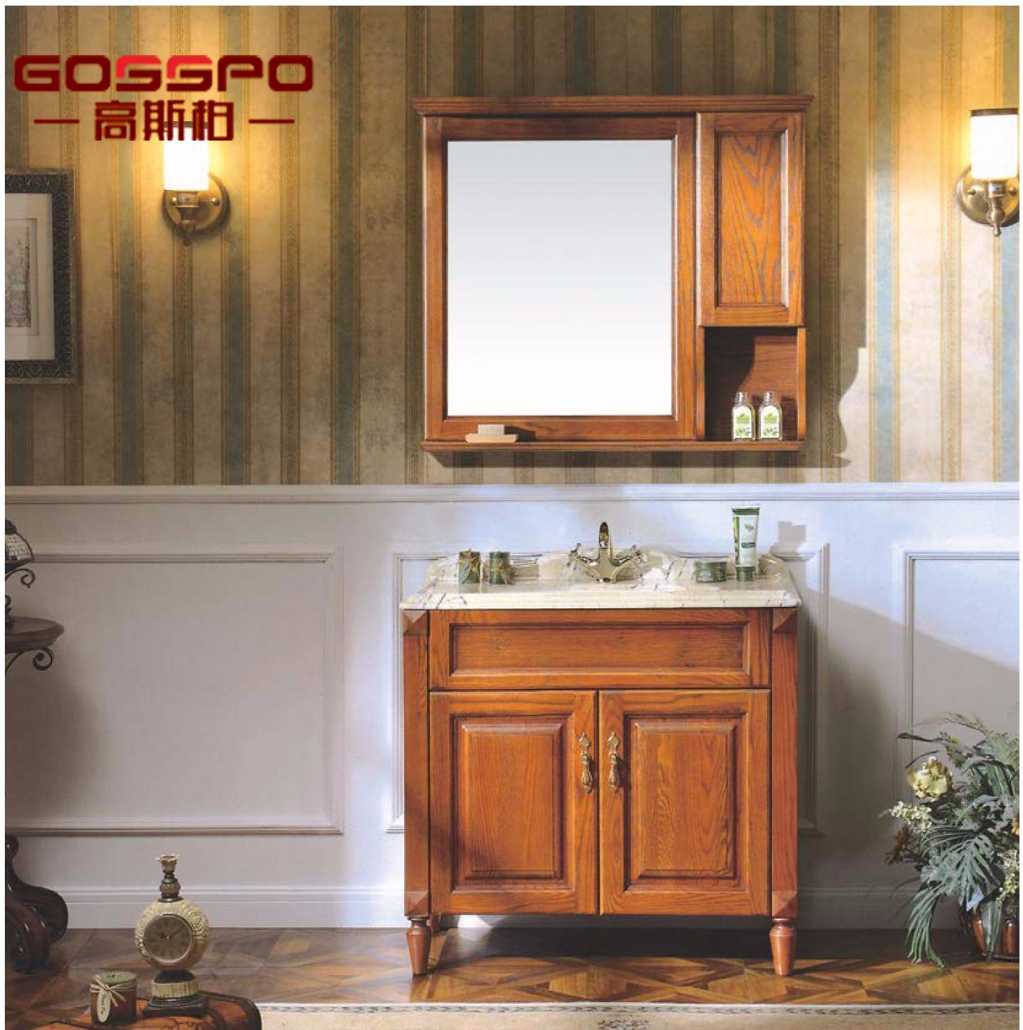 Classic Wood Bathroom Vanities with Wash Basin (GSP9-012)