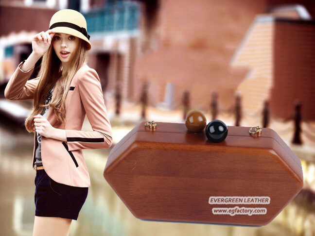 Vintage Style Women Hard Case Purse Wooden Hand Bags Box Clutch Evening Bag for Girls Eb865