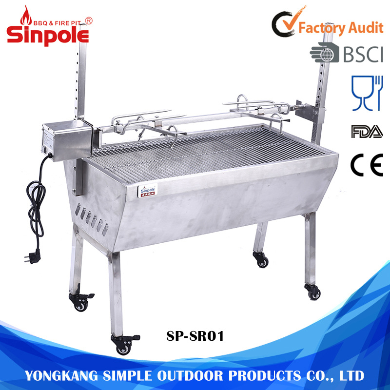 Stainless Steel 60kg Barbeque Charcoal Pig Spit Rotisserie BBQ Grill