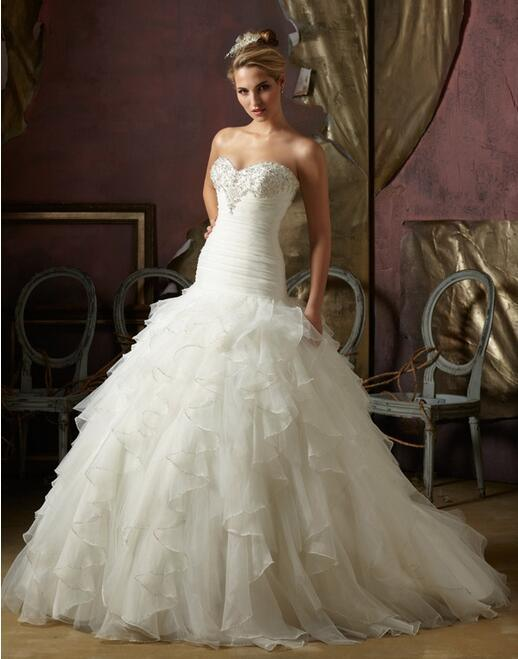 Gorgeous Sweetheart Lace up Back Organza Wedding Ball Gown with Floral Applique