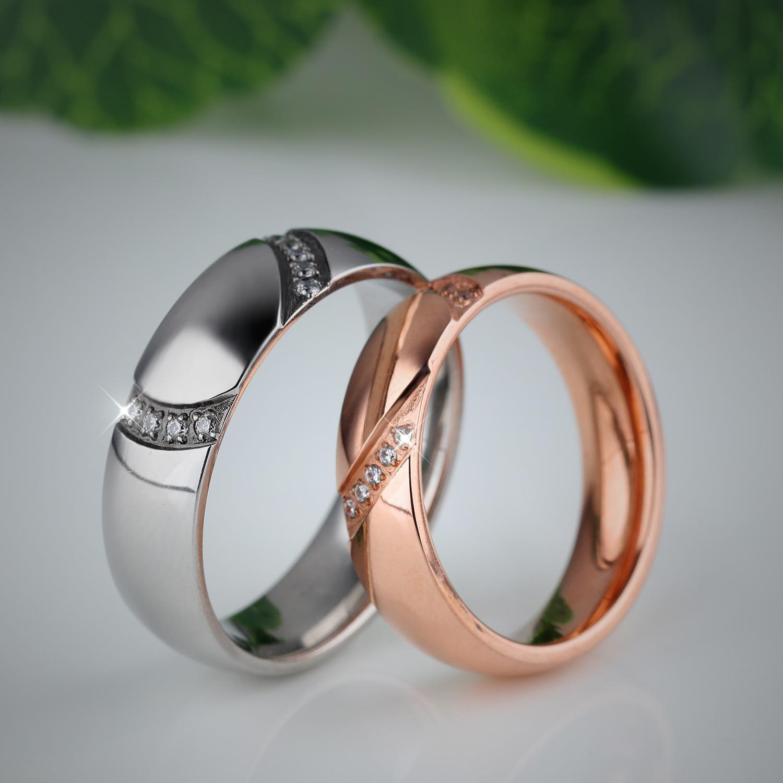 Fashion Lover Split Heart Rhinestone Diamond Men Women Couple Rings Stainless Steel Jewelry