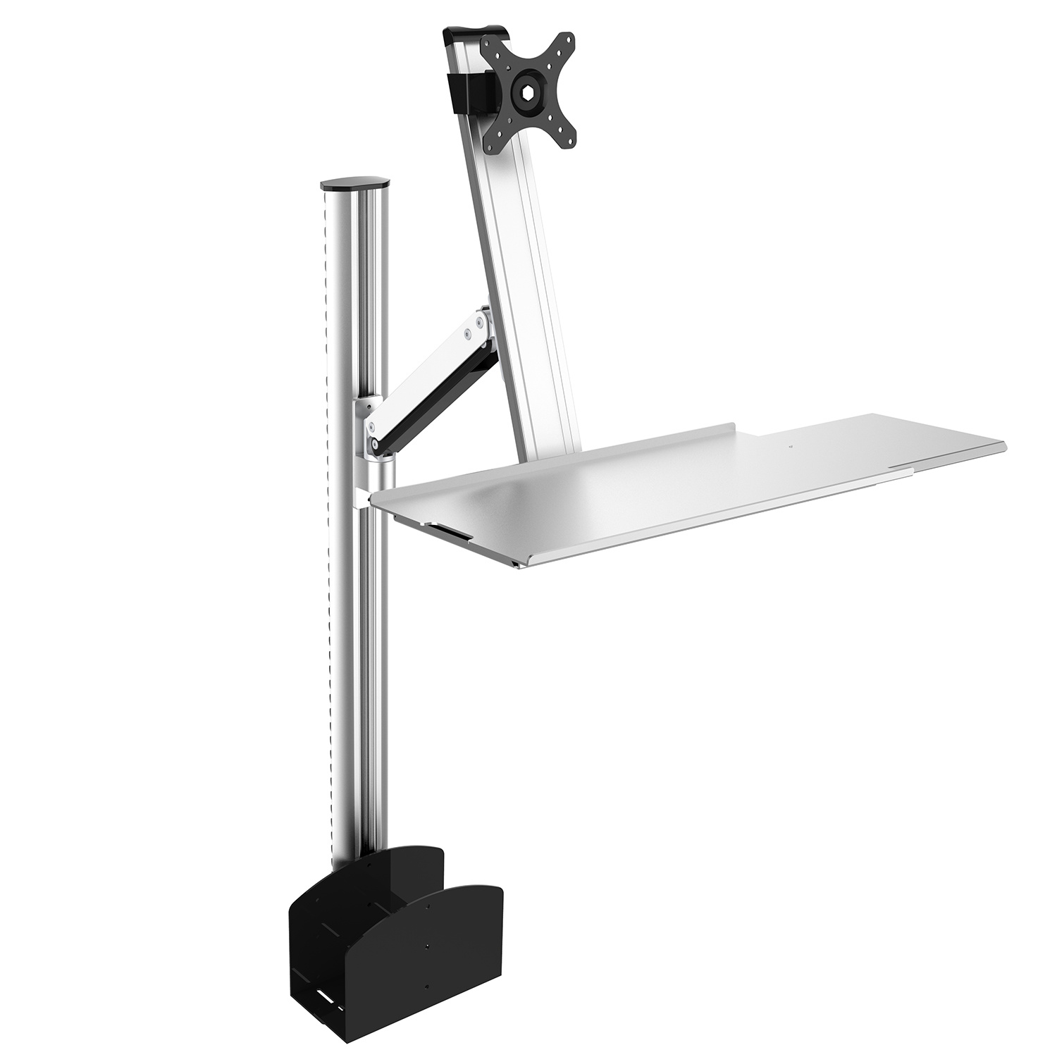 Height Adjustable Desktop Mount with Keyboard and Mouse Tray
