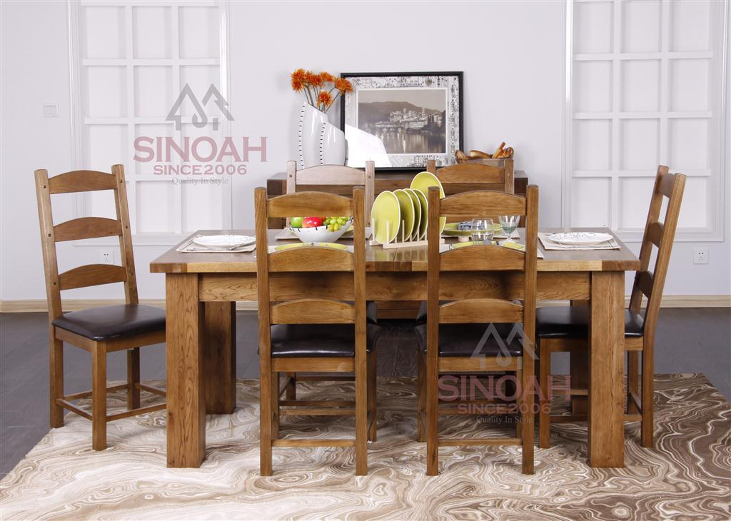 China dining table and chairs set rustic oak wood dining for Furniture at the range