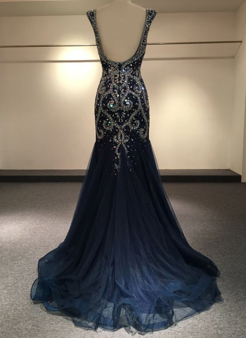 Sweetheart Formal Party Gowns Beads Rinestones Navy Cocktail Prom Dresses Y1040