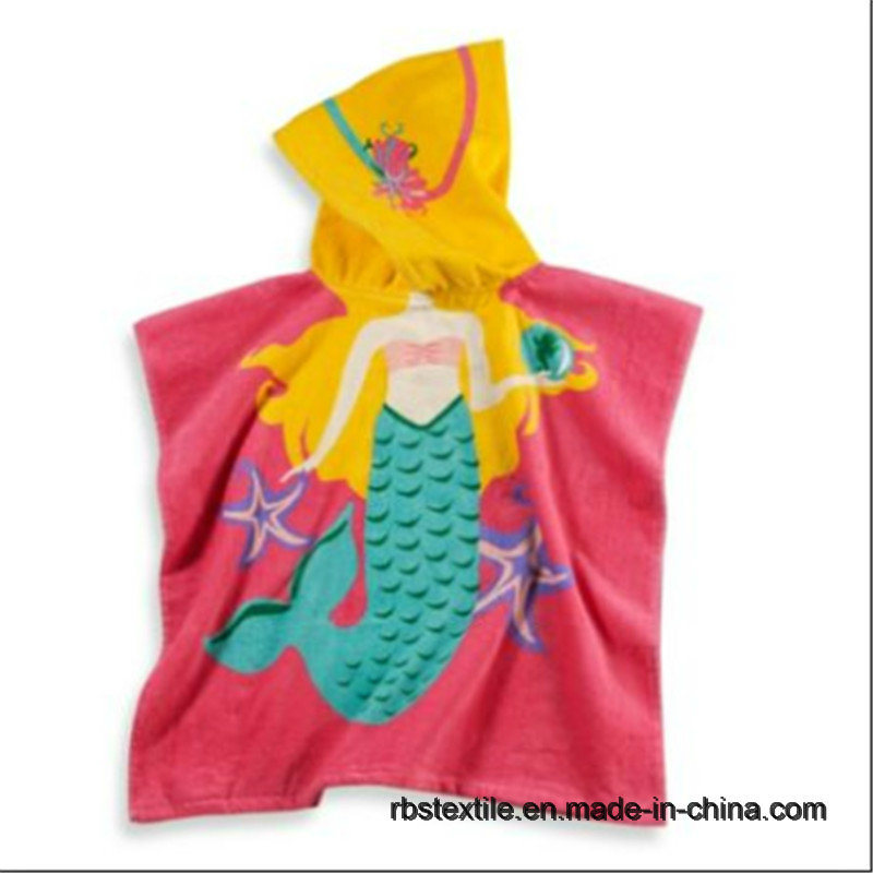Cartoon Design Cotton Printed Kids Poncho for Beach/Bath