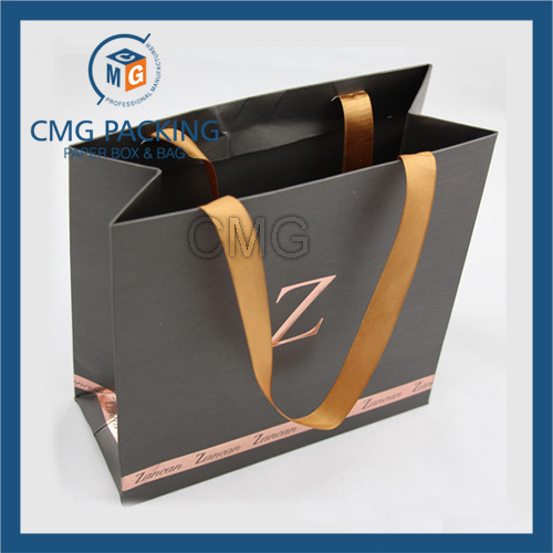 Concave-Convex Logo Luxury Paper Bag with Wide Silk Ribbon (CMG-MAY-021)