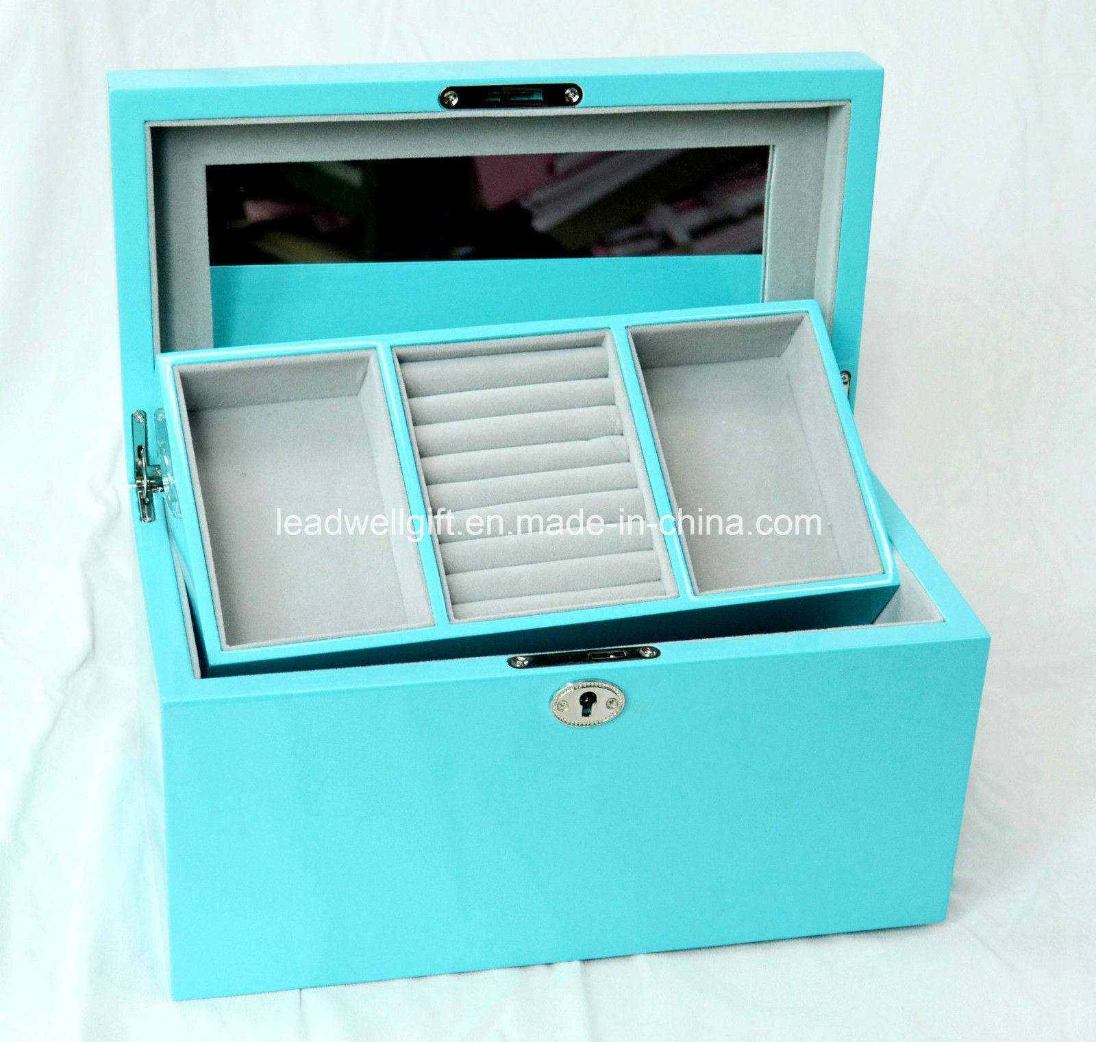 Luxury Wooden Mirror Jewellery Gift Box High Gloss Piano Finish