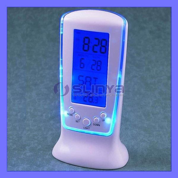 Color Change 4 In1 Multi-Functional Rotary LCD Alarm Clock with Calendar Countdown Electronic Thermometer (688)