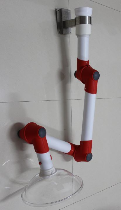 Wall Mounted Multiple PP Joints Flexible Suction Arm for Laboratory